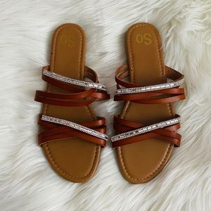 SO // Brown and Rhinestone Strappy Sandals